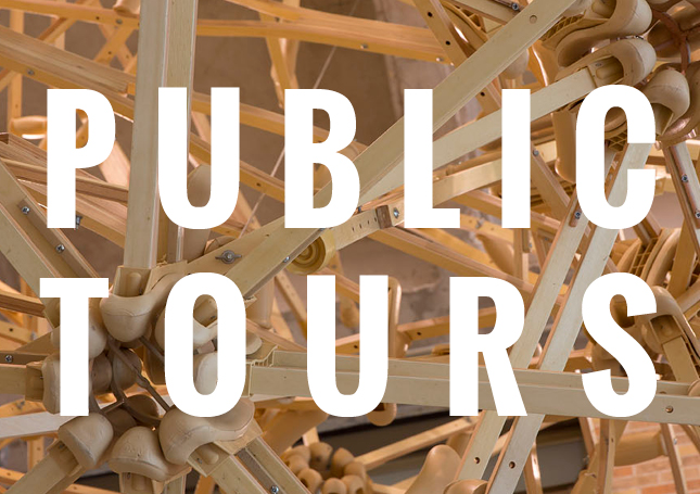 """""""Public Tours"""" written over detail of sculpture made of crutches"""