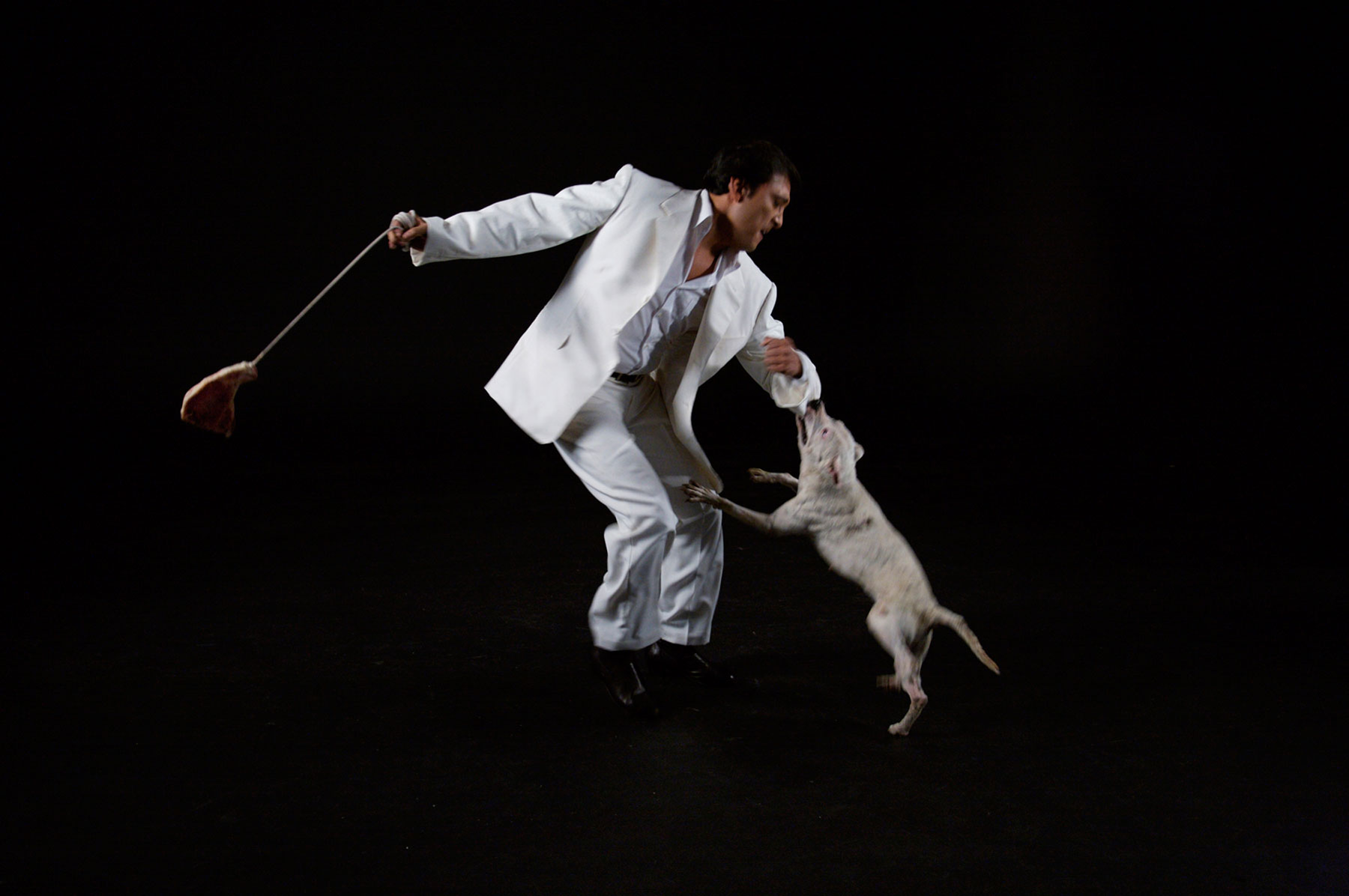 A man swinging a raw steak on a rope while a dog bites his sleeve