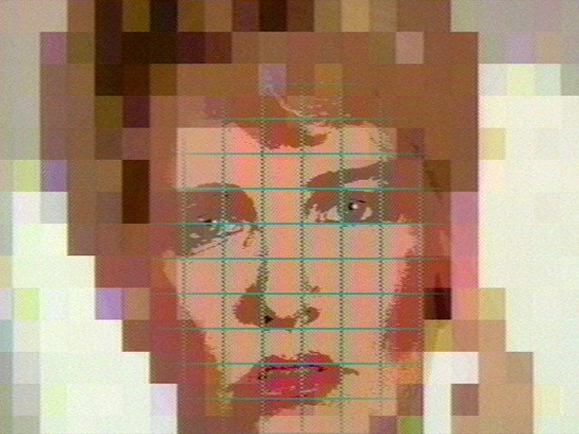 A pixelated face