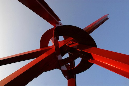 Red sculpture seen from below