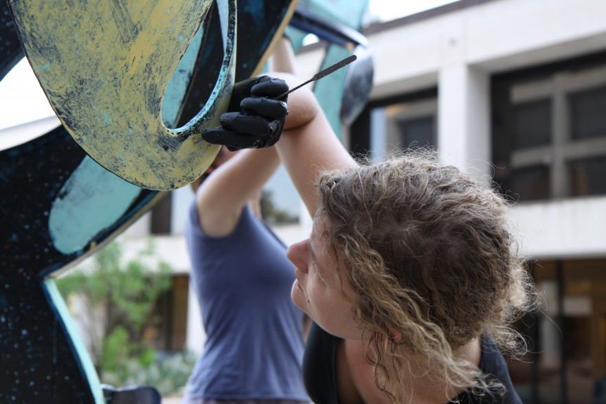 Student conserving sculpture