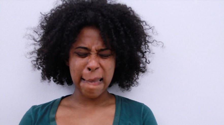 A woman making a strange face