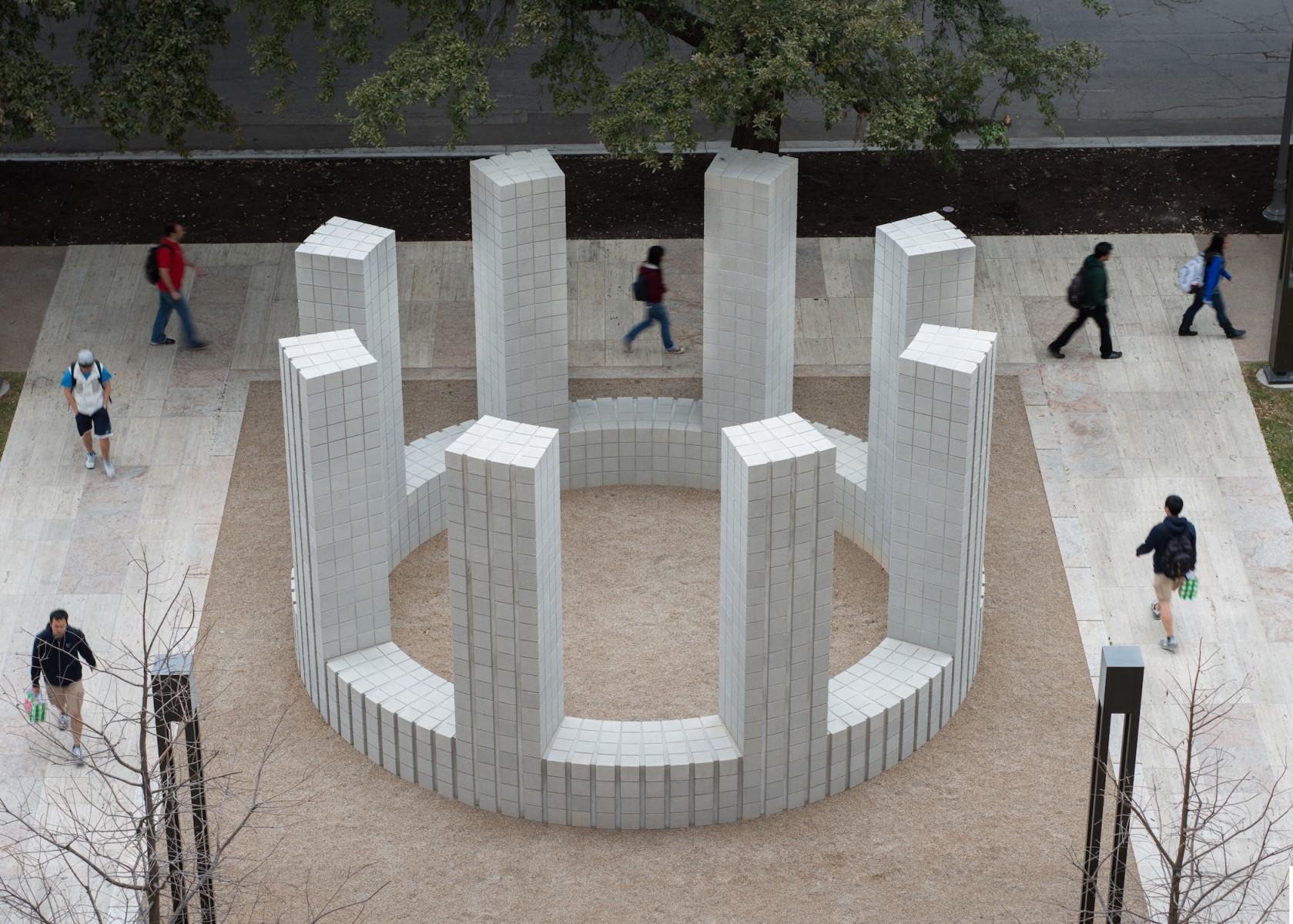 A circular symmetrical concrete structure