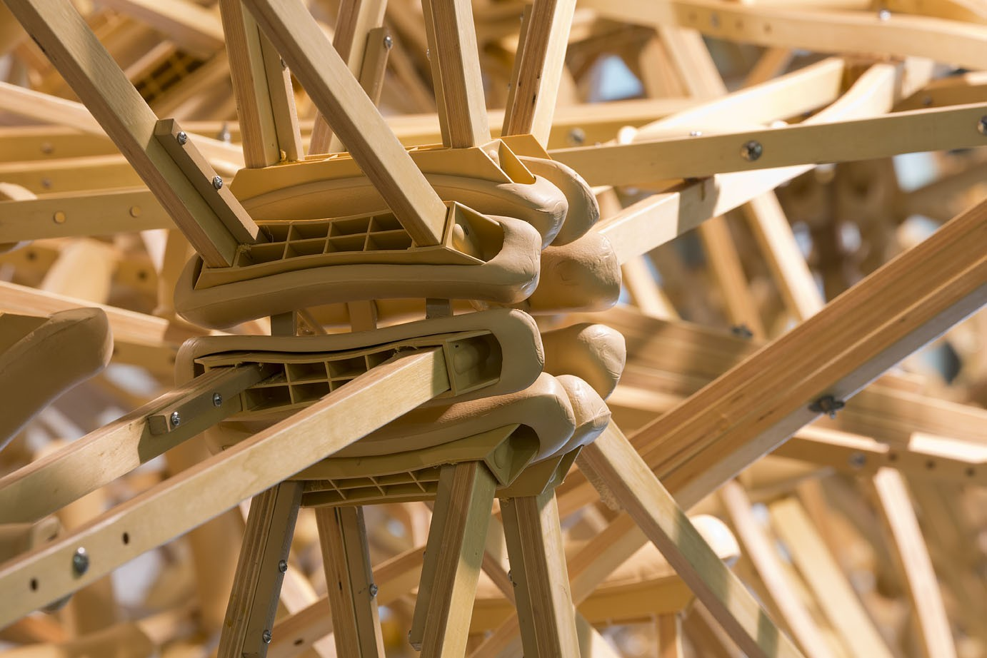 Wooden crutches combined into a spoke pattern