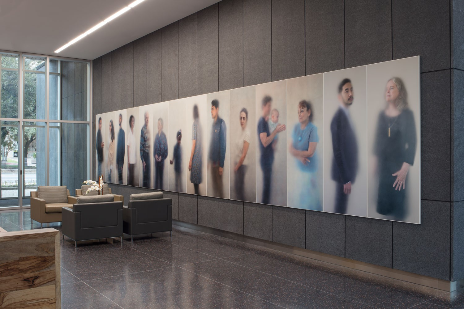 A large wall of hazy photographs