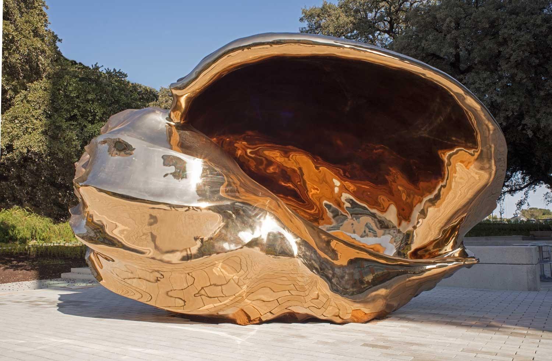 A large bronze shell sculpture