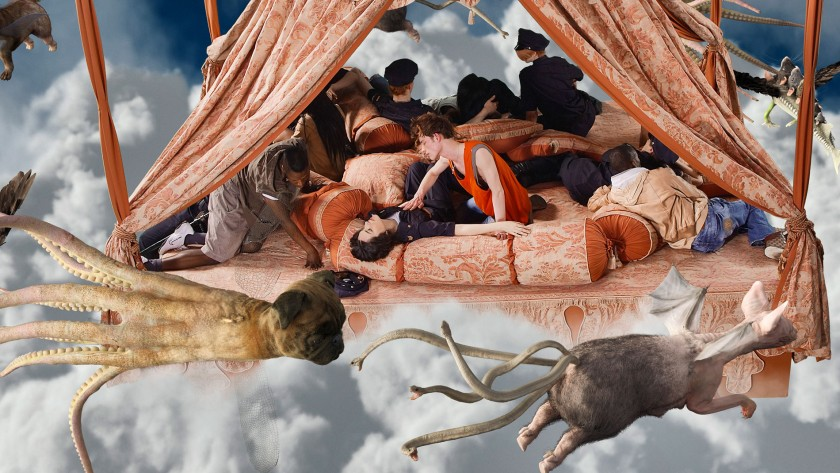 A harem scene in the clouds with a flying pug octopus and snake goat pig