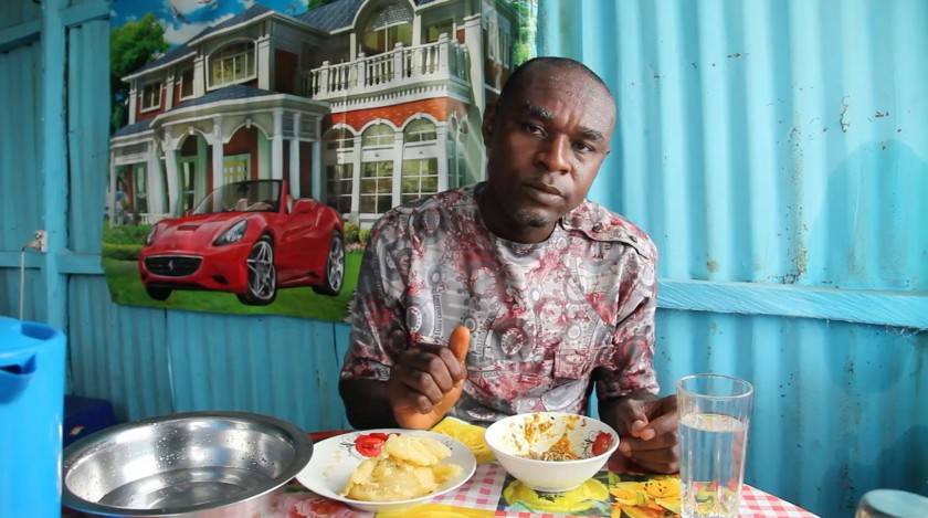 A man eating food