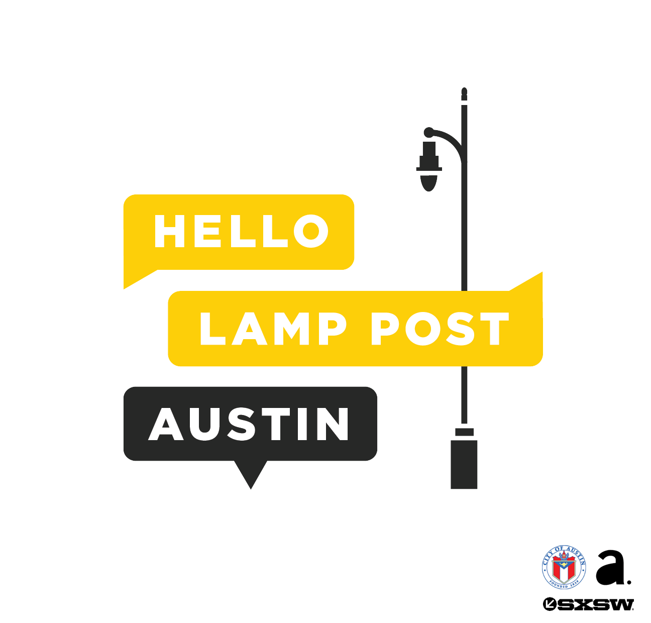 University of Texas Landmarks - Represents hello lamp post logo portrait w logos
