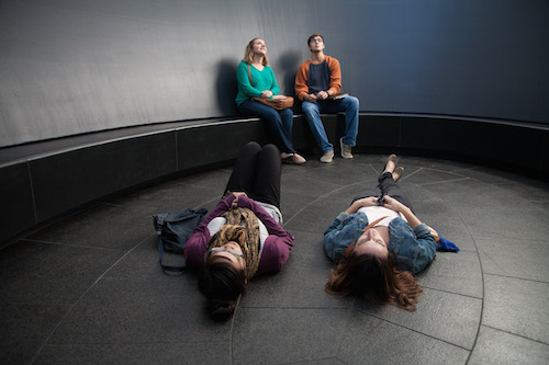 students in James Turrell Skyspace