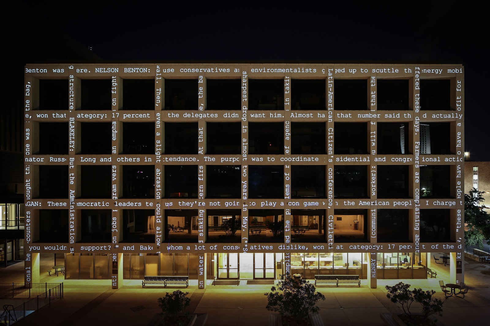 A building with projected text