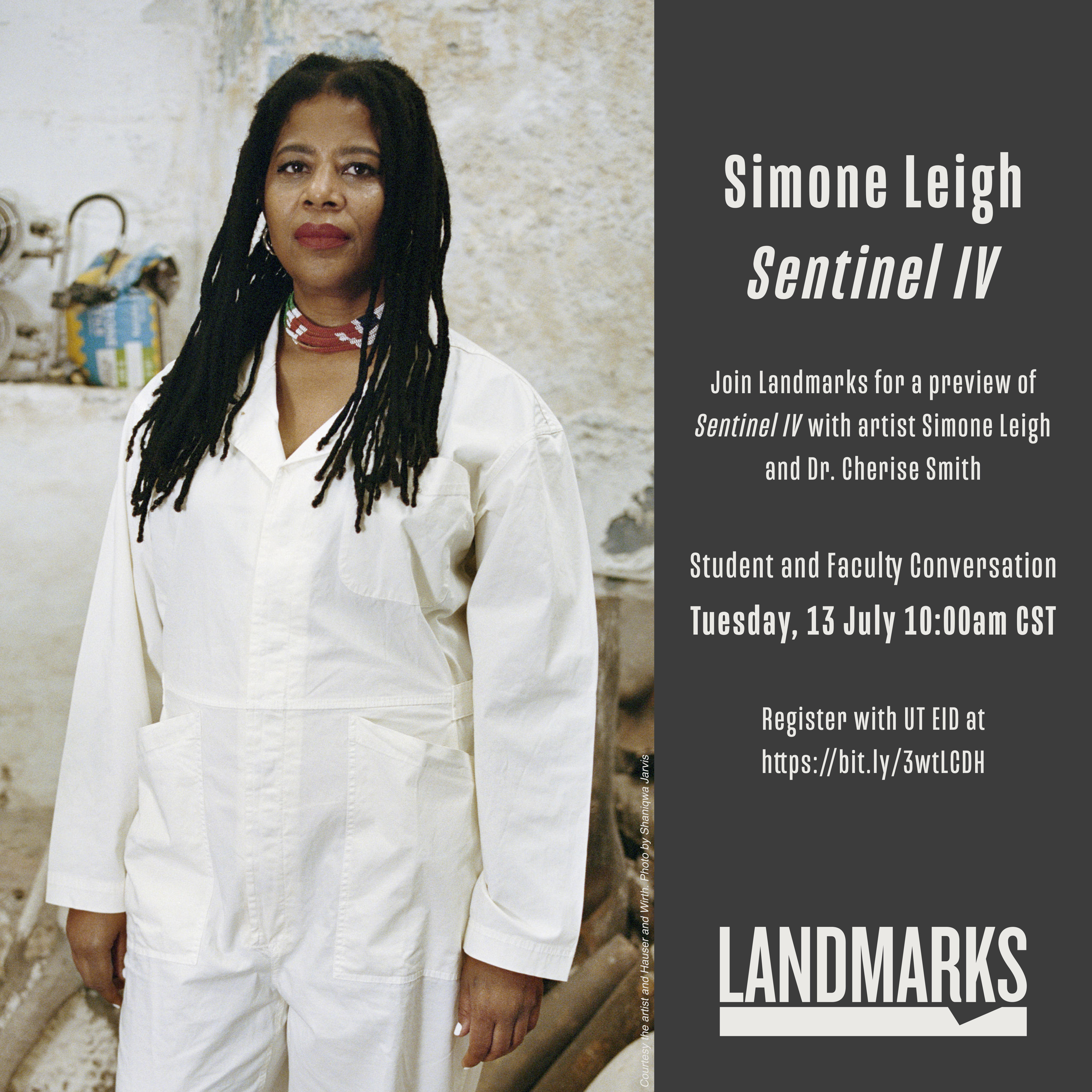 A graphic with an image of Simone Leigh on the left and a grey vertical bar on the right with event details