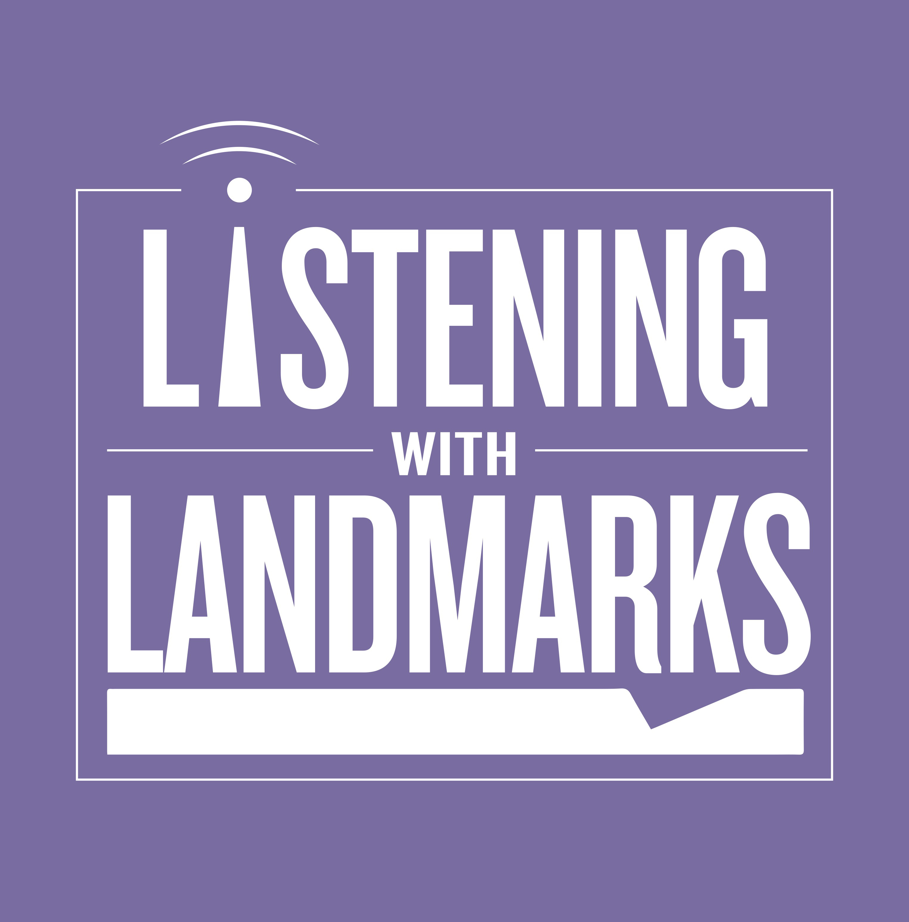 The Listening with Landmarks Logo which makes the I in Listening into a radio tower. The logo is white on a purple ground.