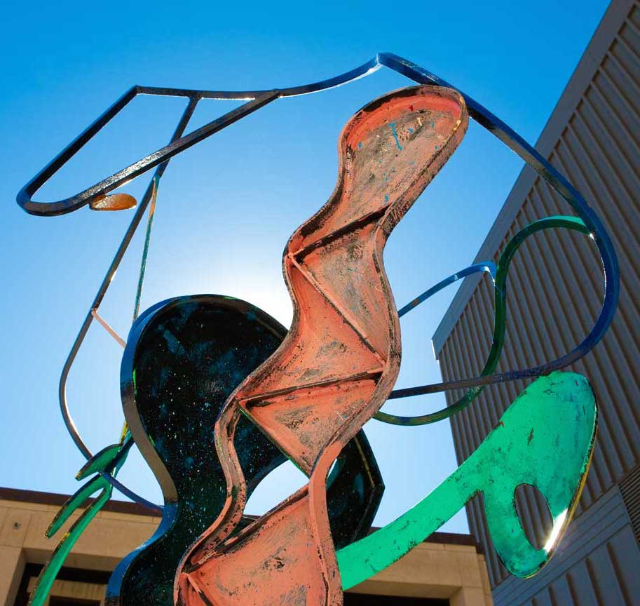 A large colorful outdoor sculpture