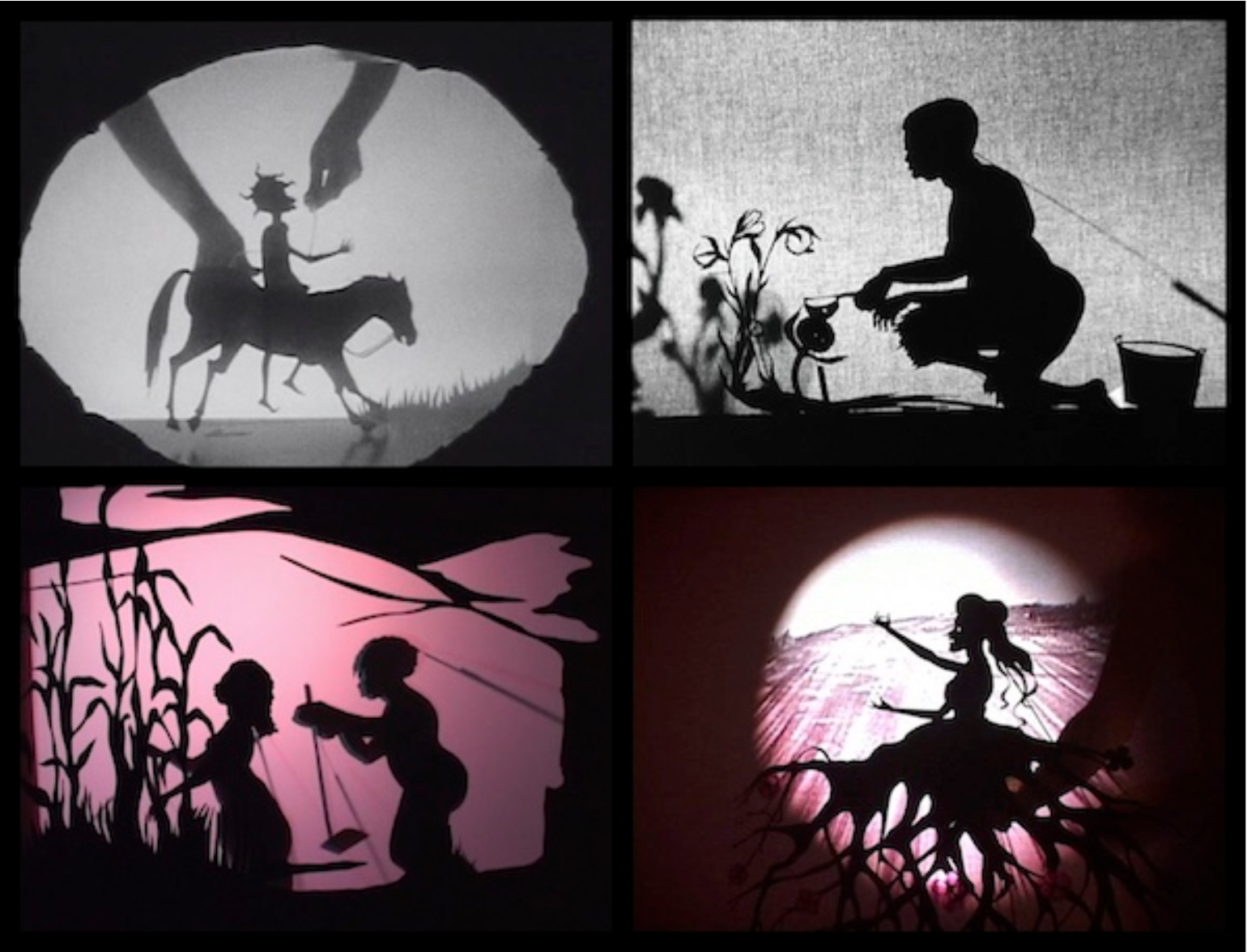 Four Kara Walker Video Stills arranged in a grid; Each depicts a figures or figures against a white or colored background
