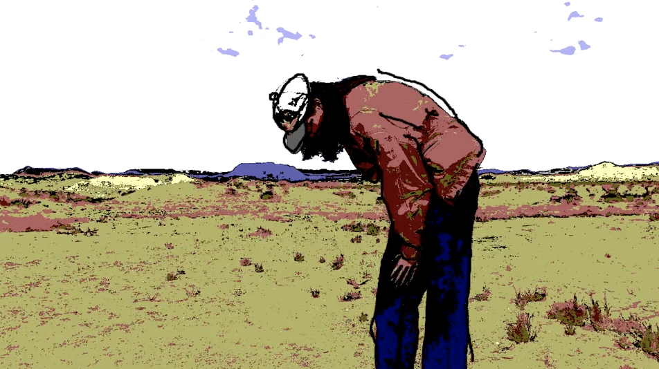 A still from a rotoscope video created in a 2019 Rotoscoping workshop. A man bends over in a landscape wearing a pink jacket and a cap.