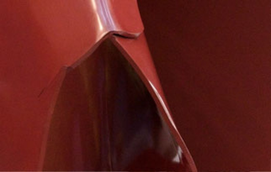 detail of abstract red sculpture