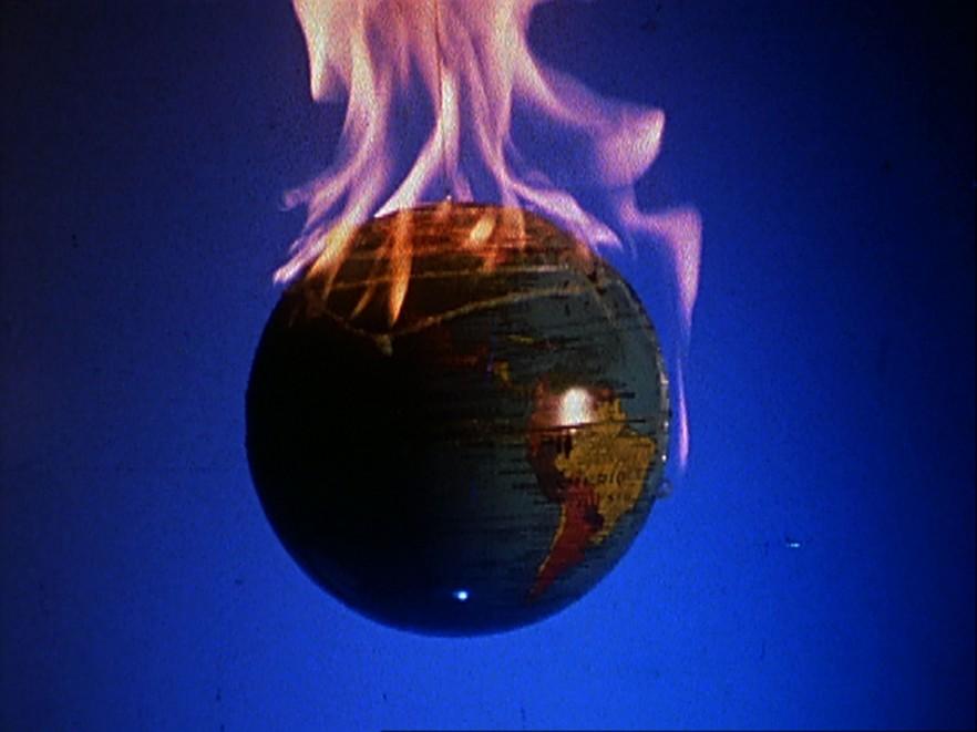A flaming globe