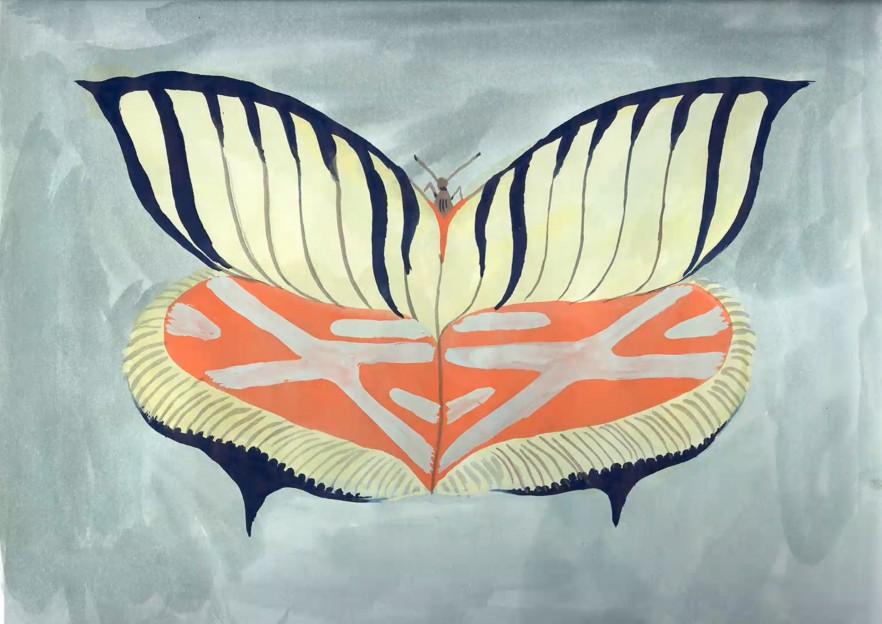 """A still from Allison Schulnik's video """"Moth"""" which is a hand drawn and hand painted moth on the screen."""