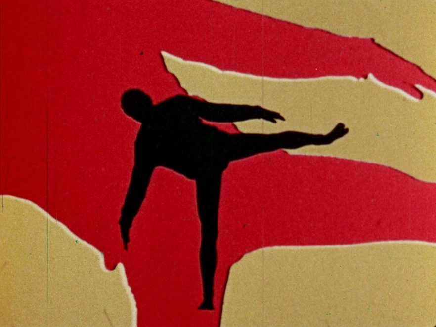 The silhouette of a human figure falling.