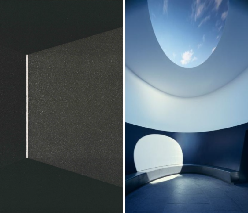 """Two images of James Turrell's work side-by-side; On the left a single vertical white line with light appearing to emerge from it in a dark space; Right: An image of """"The Color Inside"""" with an oculus revealing clouds in the ceiling"""