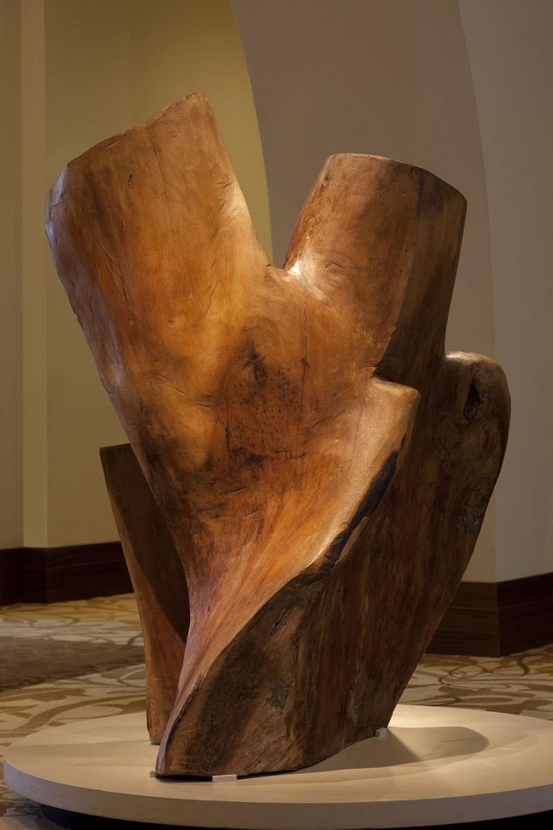 A large wood sculpture