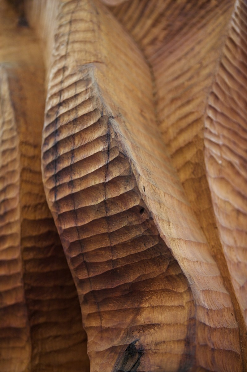Detail of a cherry wood sculpture in a large rotunda