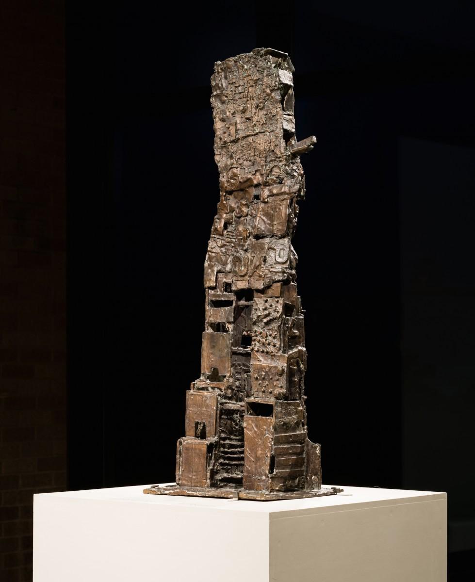 A tall sculpture on a pedestal