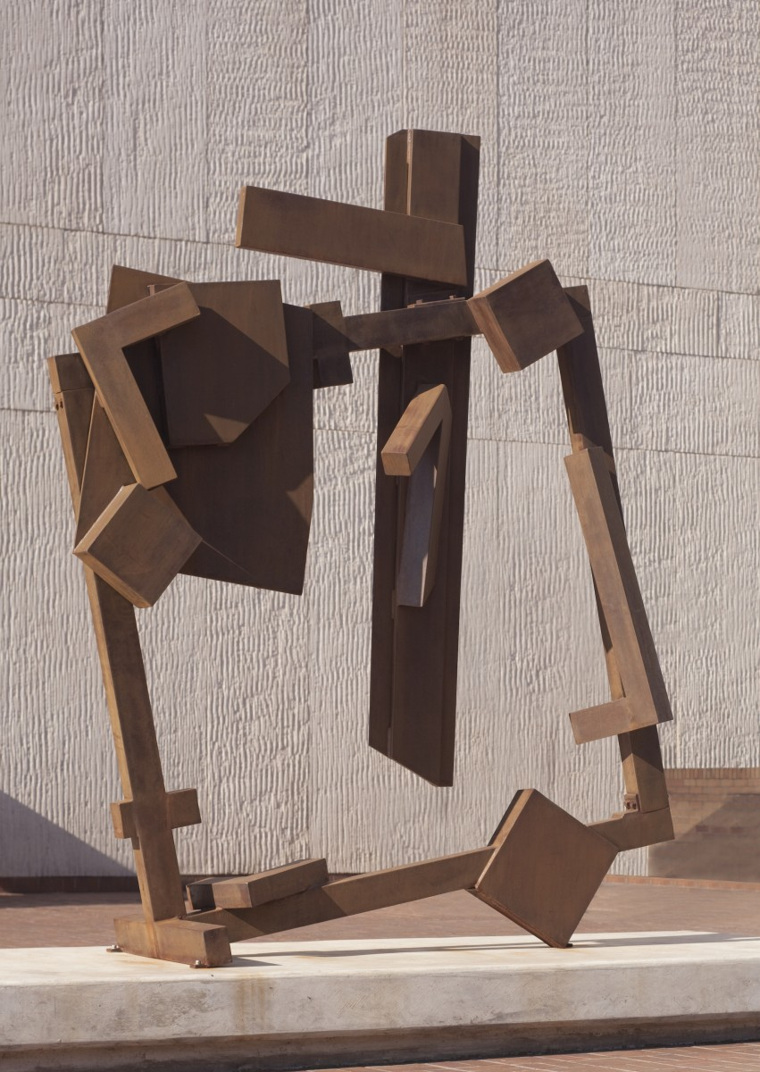 A square sculpture tilted at an angle