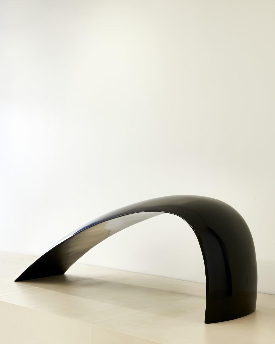 a black curved sculpture