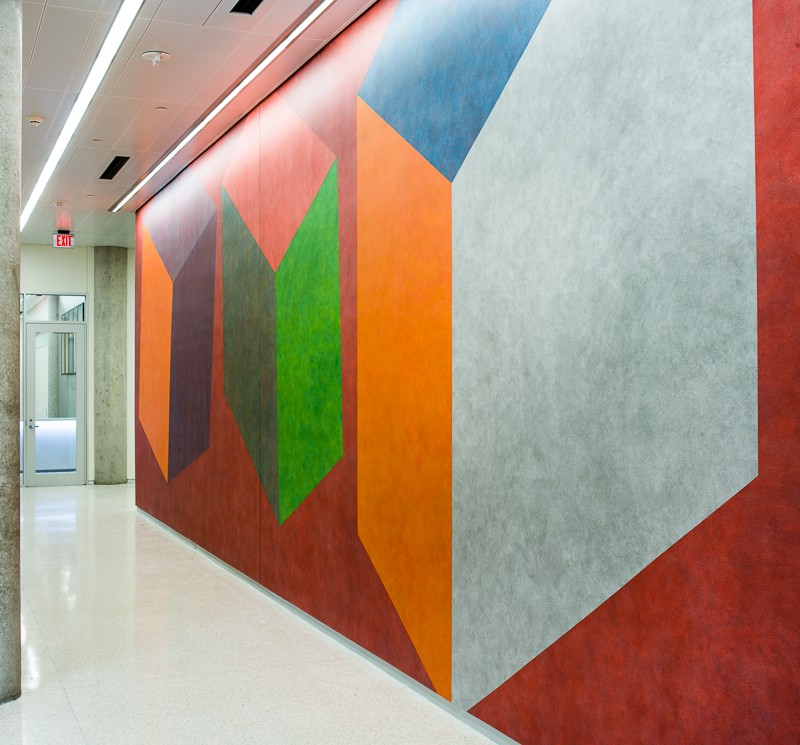 side view of colored wall
