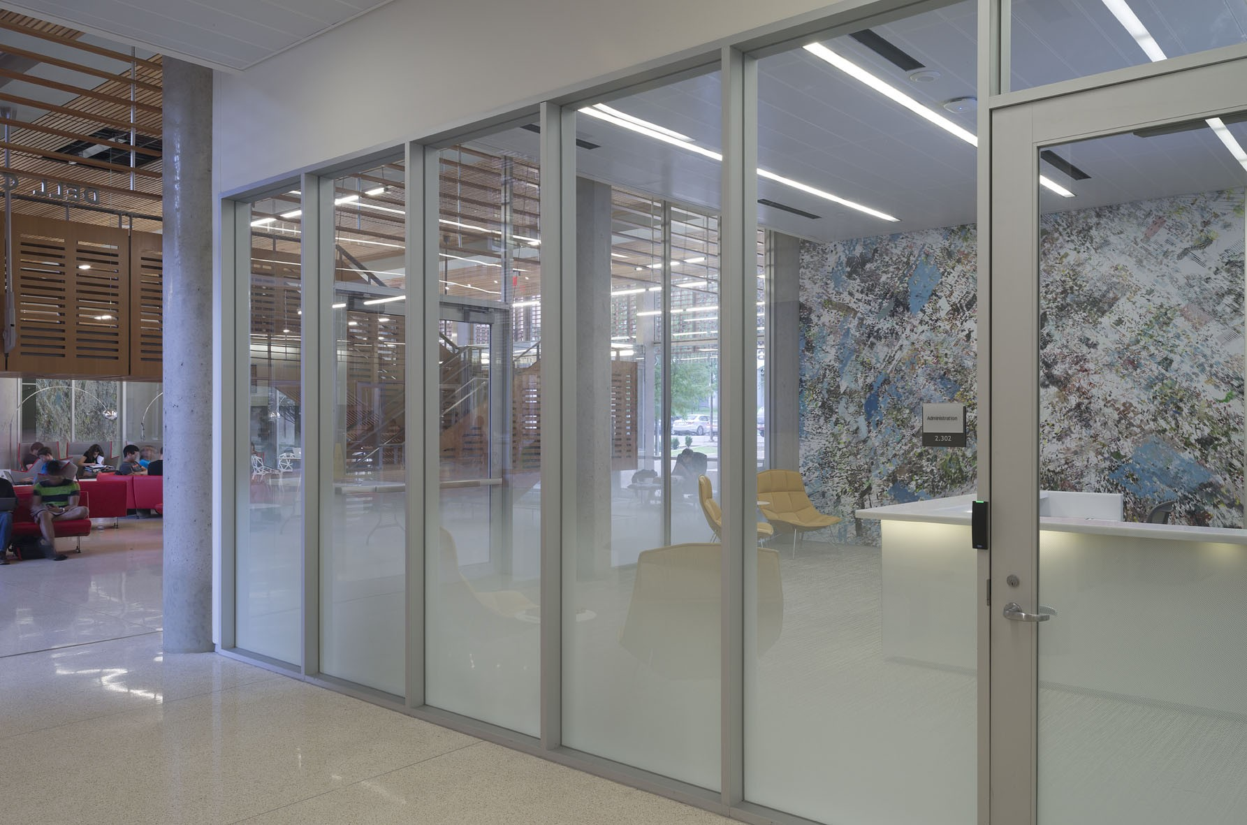 Windows in front of office space