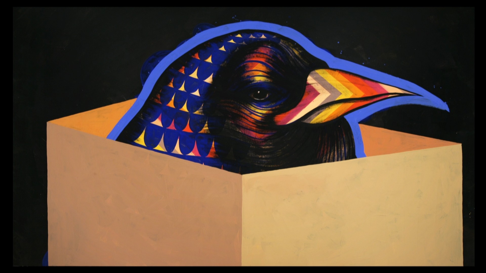 illustrated bird head coming out of box