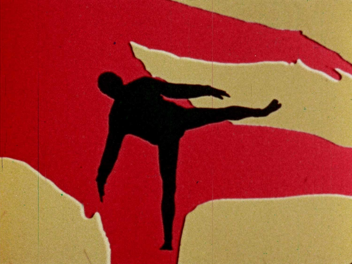 red and yellow background with black silhouette in foreground
