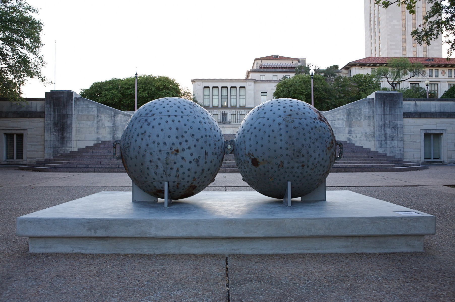two spheres on platform
