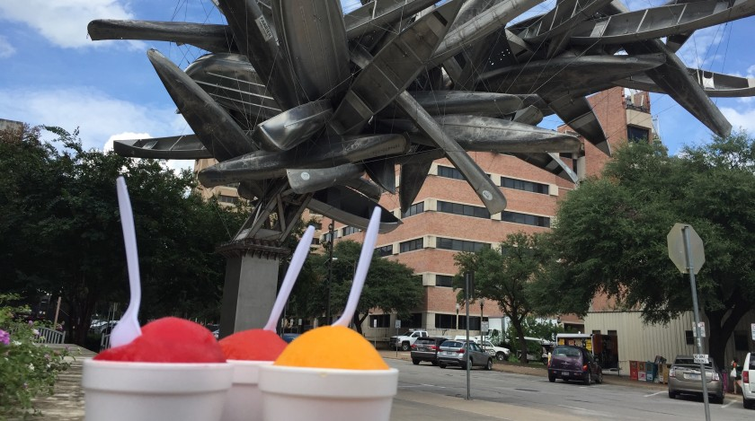 sculpture of canoes with snow cones