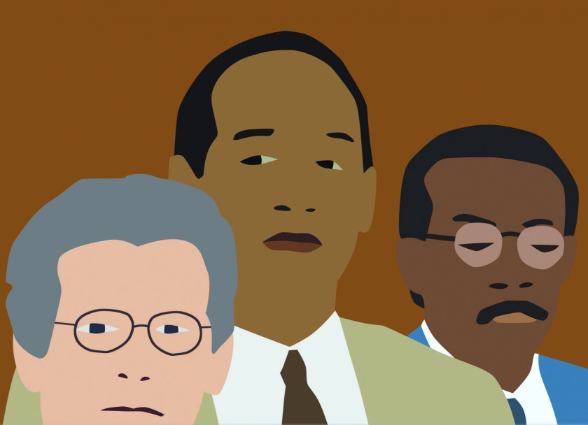 "Screenshot of Kota Ezawa's ""Simpson Verdict."" Three men in a cartoonish ""flat-color"" style look in different directions."
