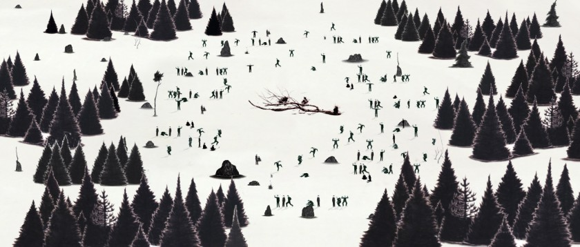 """A still from Robyn O'Neil's """"WE, THE MASSES"""" which shows a black and white images with a tree branch in a center with a ring of small figures surrounding it and a ring of trees."""